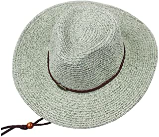 ZRL77y Men's Straw Hat, Summer Outdoor Climbing Travel Visor Hand Made  Sun Protection UV Protection Breathable Beach Cap (Color : Gray)