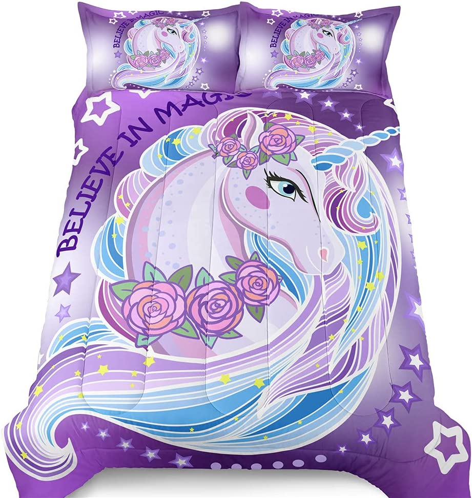 SIRDO Girls Unicorn Limited price sale Comforter Set Be super welcome Full Galaxy Size Purple Queen