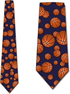Basketball Tie Mens Sports Neckties Navy by Three Rooker