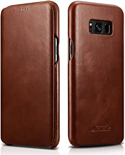 Galaxy S8 Case,Mangix Premium Samsung Galaxy S8 Genuine Leather Wallet Case Curve Edge Flip Style, Vintage Folio Cover [Support Touch ID] for Samsung Galaxy S8 (Brown)
