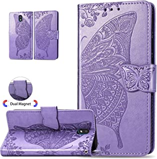ISADENSER LG K30 2019 Case, LG Arena 2 Case, LG Escape Plus Case Butterfly PU Leather Flip Wallet Bookstyle Magnetic Card Slot Stand Phone Cover for LG K30 2019 Butterfly Wing Light Purple XD