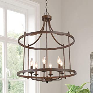 Chandeliers for Dining Room, Drum Pendant Lighting for Kitchen Island in Aged Bronze Metal Finish Farmhouse Lighting, 21.5...