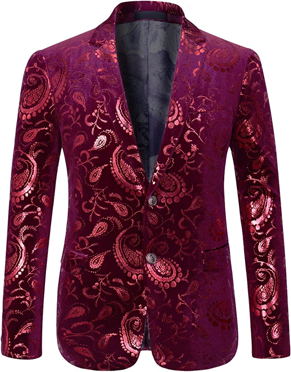 Men's Floral Casual Stylish Paisley Slim Fit Blazer Dress Suit Jacket