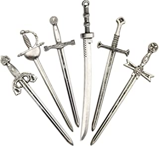 Youdiyla 12pcs Sword Katana Charms Collection, Antique Silver Tone, Mix Samurai Ananta Tachi Knife Stiletto Fencing Metal Toy Pendant Supplies Findings for Jewelry Making (HM183)