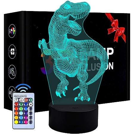3D LED lumière de Nuit de Dinosaure 3 modèle et 7 Changement de Couleur Decor Lampe avec télécommande pour Enfants Filles garçons