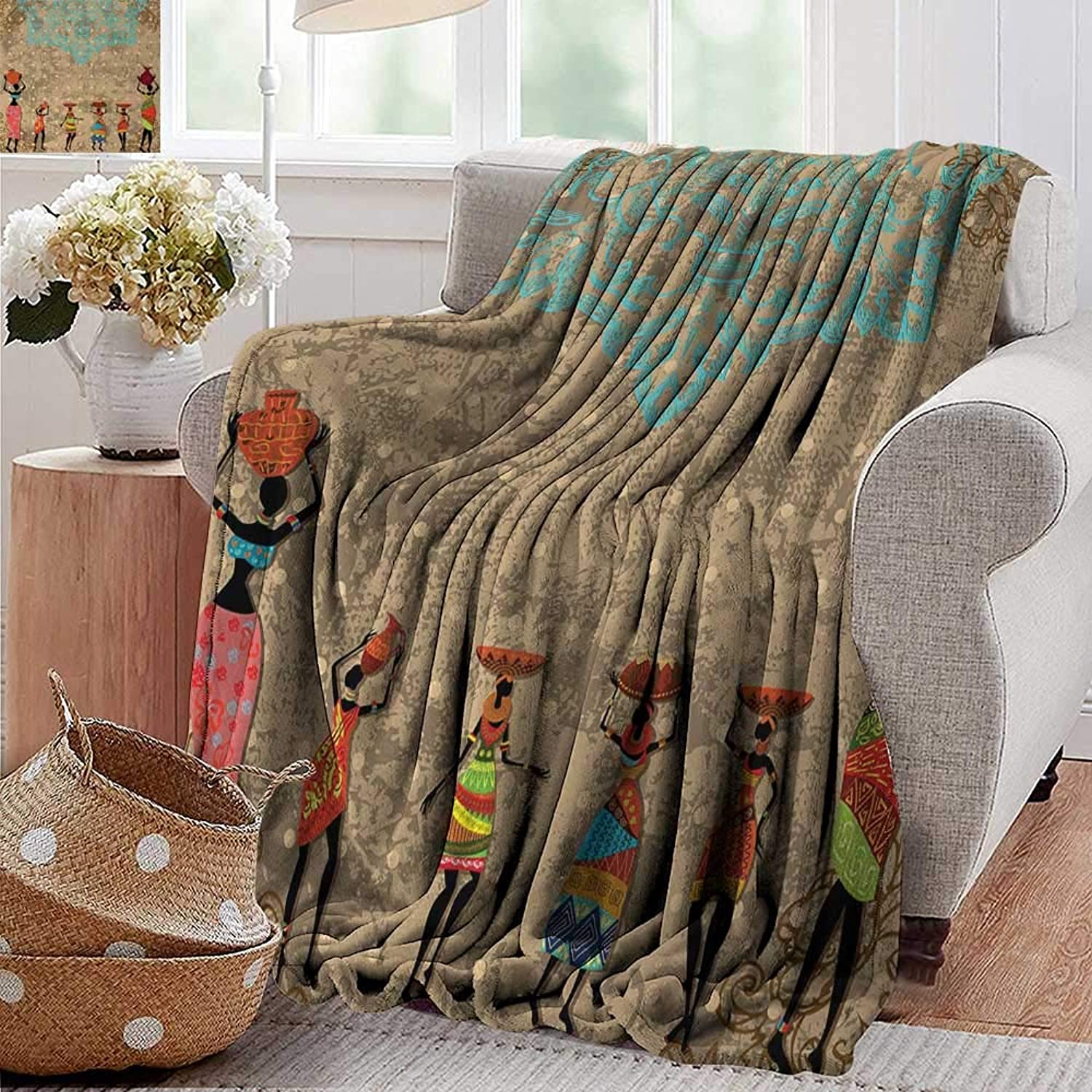 XavieraDoherty Camping Blanket,African,Vintage Girls with Pots on The Head on Folkloric Boho Background Illustration,Seafom Cocoa,Flannel Blankets Made with Plush Microfiber 35 x60