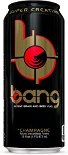 BANG Energy Drink with Zero Calories & High Caffeine, Champagne - 16 Fl Oz (12 Count) - VPX (Vital Pharmaceuticals)