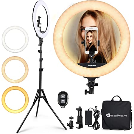 Ring Light 18 Inch LED Ringlight Kit with 73 inch Tripod Stand with Phone Holder Adjustable 3200-6000k Color Temperature Circle MUA Lighting for Camera for Vlog, Makeup,Youtobe, Video Shooting, Selfie