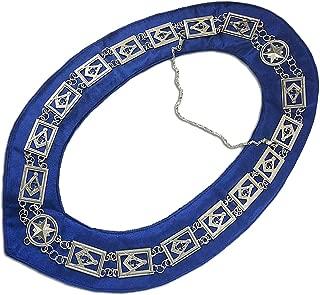 E-Coin Square Compass Masonic Blue Lodge Chain Collars Dark Blue Backing