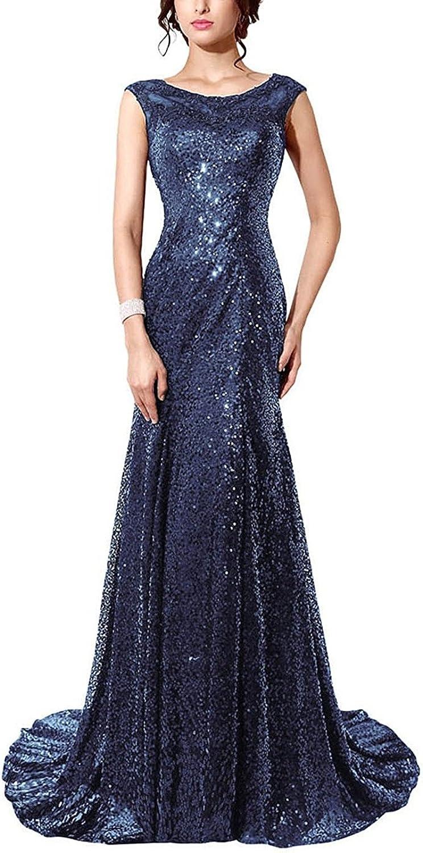 JudyBridal Women Sequins Mermaid Sheer Neck Evening Dress Prom Gown