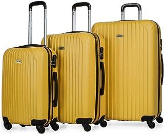 ITACA - Juego Maletas de Viaje 4 Ruedas Trolley ABS. Extensibles Rígidas Resistentes y Ligeras. Mango Asas Candado. Pequeña Cabina Low Cost, Mediana y Grande. T71500, Color Mostaza