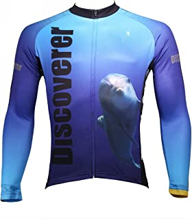 ILPALADINO Men's Cycling Jersey Long Sleeve Biking Shirts Shark and Dolphin Blue