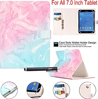 """Universal 7.0"""" case, Newshine Flower Marble Pattern Synthetic Leather Folding Folio Stand Case with Card Slots&Money Pocke..."""