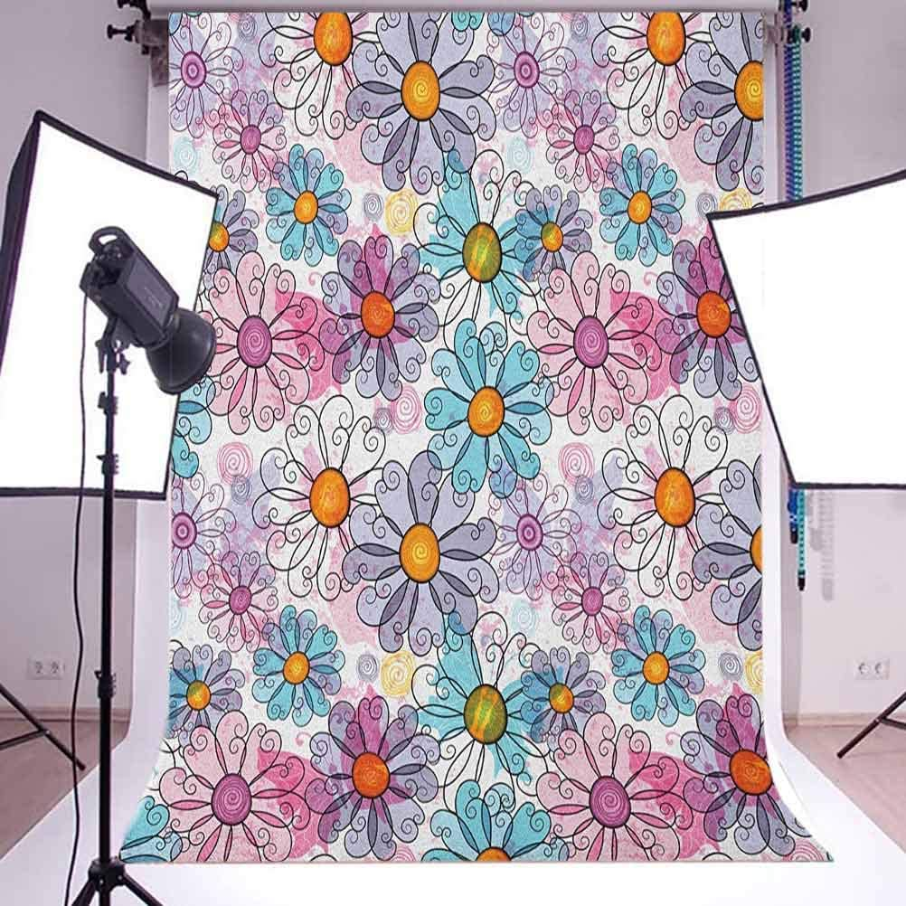 8x12 FT Doodle Vinyl Photography Backdrop,Sleepy Cat Colorful Hats Night Time Good Night Cute Animals Background for Party Home Decor Outdoorsy Theme Shoot Props