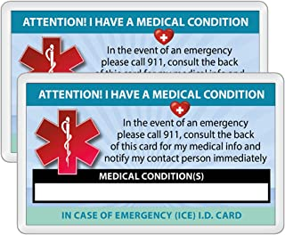 Medical Condition ICE Alert in Case of Emergency I.D. Identification Wallet Card Heavyweight 32 Pt. CardStock - Our Thickest (Qty. 2 w/Laminated Pouches)