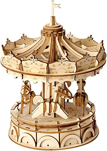 2021 Rolife outlet sale Merry-Go-Round 3D Jigsaw Puzzle Wooden Craft Kit Wooden Puzzle Architecture Model Toy online sale for Kids and Adults Carousel Decoration Perfect Birthday Gift Valentine's Day online sale