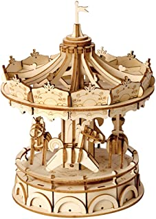 Rolife 3D Wooden Puzzles for Kids Christmas, Merry-Go-Round Wood Craft Model Kits, Best Educational DIY Jigsaw Toys, Kids'...