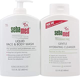 Sebamed Liquid Face and Body Wash With Pump for Sensitive Skin (400 mL) And Fragrance Free Gentle Hydrating Cleanser for Normal to Dry Skin (400mL) VALUE PACK