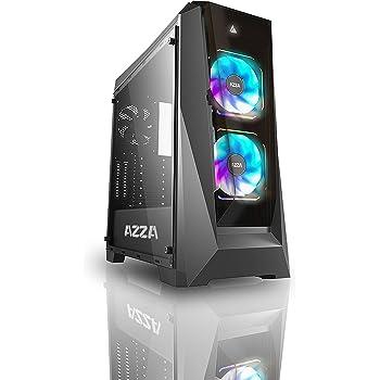 W//2x120mm Prisma Digital RGB Fans Black Azza CSAZ-410B Chroma MID-Tower PC CASE