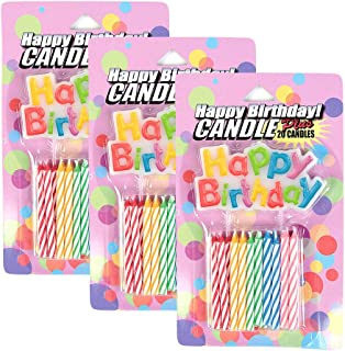 Unique Happy Birthday and Spiral Candles, Set of 20, 3-pack (60 Candles)