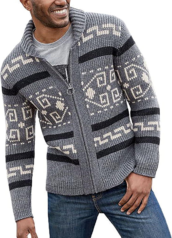 Knitwear for Men's Cardigan Sweater Jacket Fashion Lapel Loose Plus Size Cable Zipper Knited Coat Henley Sweater