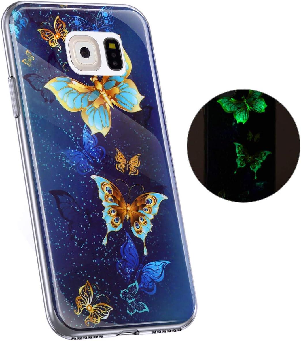 Gold Blau Hpory Kompatibel mit Galaxy S6 Edge H/ülle Handyh/ülle Samsung Galaxy S6 Edge Glow im Dunkel Nacht Leuchtend Weiche TPU Silikon Transparent Bumper Schale Case Cover Tasche Schutzh/ülle