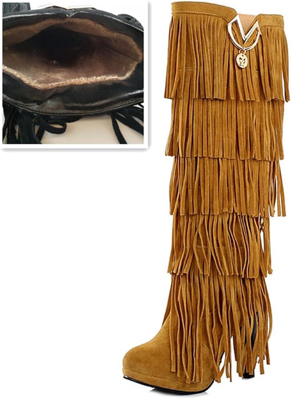 Kenavinca Plus Size 32-43 New Flock Winter Fur Women Boots High Heels Knee Boots Fringe Tassels Fashion Black Brown Red