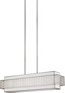Feiss F3104/5SRS Kenney Island Chandelier Lighting with Glass Shades, Satin Nickel, 5-Light (41