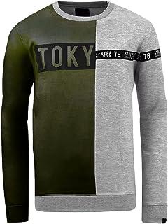 Men's Designer Tokyo Half & Half Pullover Sweatshirt Top Jumper Size