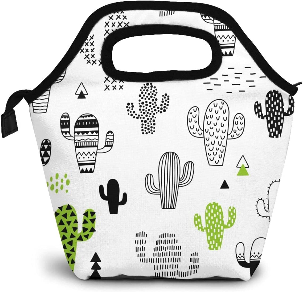 Hand Drawn Cactus Lunch Box Insulated Durable Meal Bag Green Plants Reusable Waterproof Snack Bag Portable Food Container Tote Bags For College Work Picnic Hiking Beach Fishing