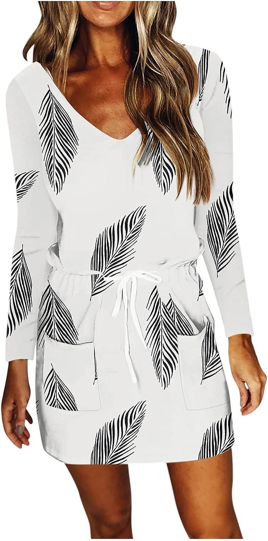 NEEKEY Pocket Dress for Womens 2021 Autumn Long Sleeve V Neck Dress Drawstring Pattern Print Mini Dress Knee Length Dresses