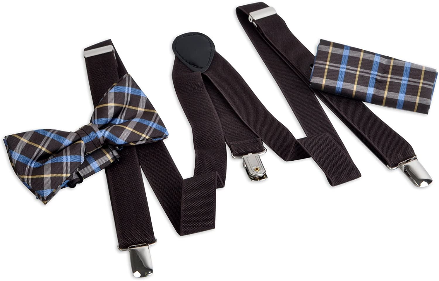 Men's Brown Plaid Checks Formal 3 PC Clip-on Suspenders, Bow Tie and Hanky Set