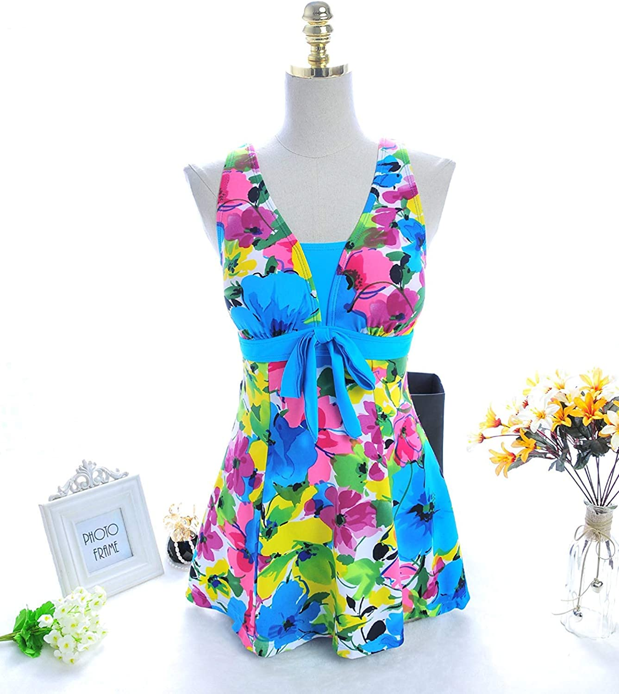 Jianheads Split Skirt Style Bathing Suit Black Pogreeny Video Thin Twin Flat Swimsuit, bluee Lake,Xl