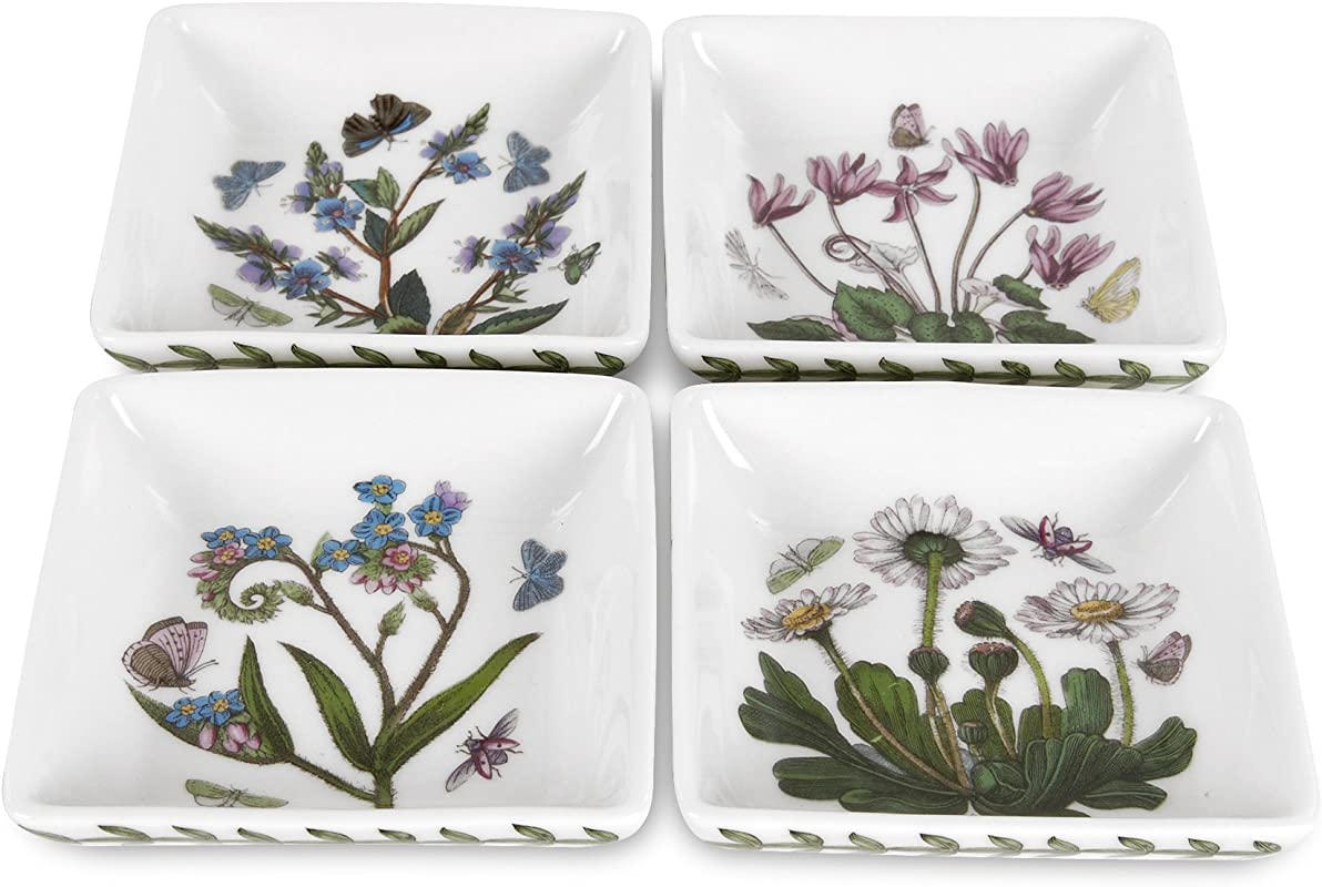 Portmeirion Botanic Garden 3 Inch Square Mini Dishes Set Of 4