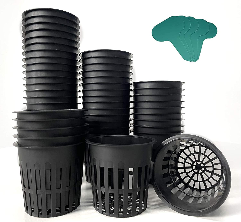 INRLKIT 50 Packs 4 Inch Garden Net Cups, Slotted Mesh Net Pots, Heavy Duty Plastic Plant Nursery Pots with 50 Pcs Plant Labels, Wide Lip Bucket Basket for Hydroponics