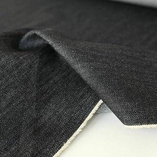 TOLKO Baumwollstoffe schwerer Jeans Stoff ohne Stretch | weicher Bekleidungsstoff für Hose Jacke Rock | robuster Polsterstoff/Bezugsstoff für Sofa Stuhl Couch | Meterware 155cm breit Denim Schwarz