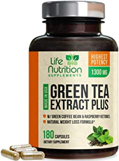Green Tea Extract 98% with EGCG for Weight Loss 1300mg - Boost Metabolism for Healthy Heart - Antioxidants & Polyphenols for Immune System - Gentle Caffeine - Natural Fat Burner Pills - 180 Capsules