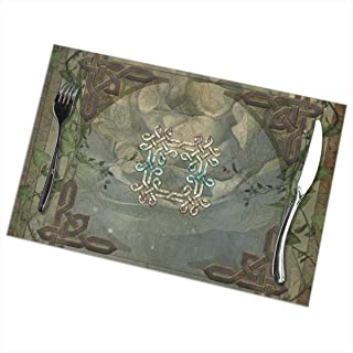 CYEfuzhuang Celtic Knot Table Mats Set with 6 Pack Placemats Heat Resistant Anti Slip Easy to Clean Table Mats 12x18 Inch