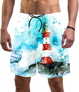 henghenghaha Mens Swim Shorts Waterproof Quick Dry Beach Shorts with Mesh Lining,Watercolor red and White Lighthouse