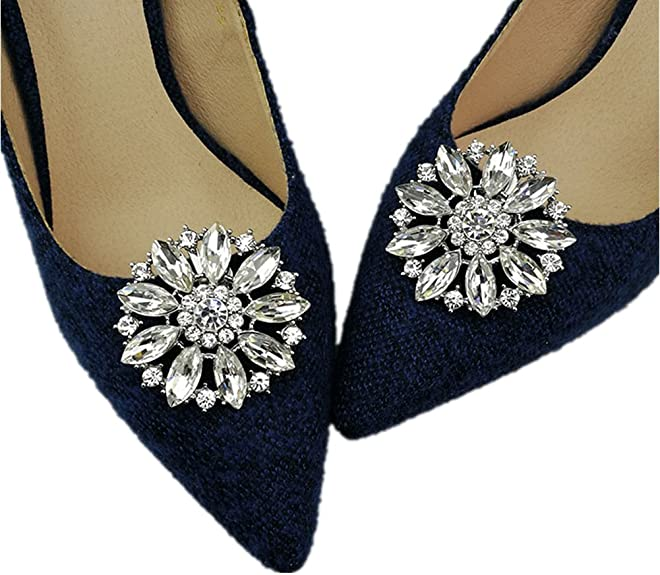 History of Victorian Boots & Shoes for Women Ruihfas Casualfashion 2Pcs European Fashion Decorative Crystal Rhinestone Flower Shoes Clutch Dress Hat Shoe Clips White  AT vintagedancer.com