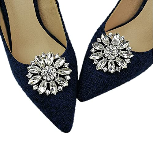 Casualfashion 2Pcs European Fashion Decorative Crystal Rhinestone Flower  Shoes Clutch Dress Hat Shoe Clips 715d61ea3e15