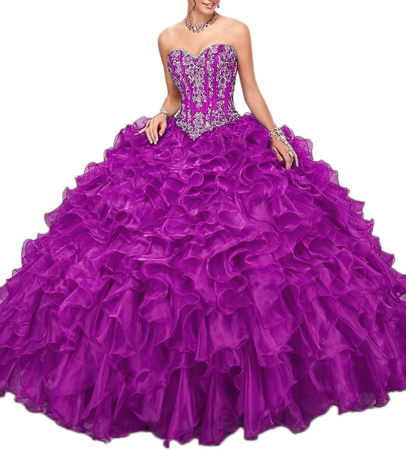 Liaoye Women's Sweetheart Quinceanera Dresses Beaded Organza Sweet 16 Prom Ball Gown