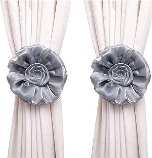 Gray Large Curtain & Drapery Tassel Tiebacks Christmas Decor 1 Pair Drapery Curtain Rope Tie Band Decorative Chainette Tiebacks Holdbacks for Wedding Birthday Party Decoration (Gray)