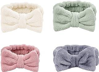 SIMIN 4 Pack Spa Hoofdband,Strik Haarbanden Make-up Hoofdband Vrouwen Koraal Fleece Elastische Hoofdband Wassen Gezicht Ha...