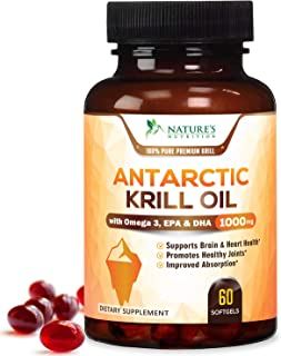 Antarctic Krill Oil Supplement 1000mg Highest Potency Krill w/Omega 3, EPA, DHA & Astaxanthin - Made in USA - Heart & Joint Support, Non-GMO, No Fishy Aftertaste for Men Women - 60 Softgels