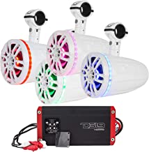 """$1305 » 8"""" Wakeboard Tower Pod Marine Weatherproof Speakers with RGB Multicolor LED - 2 Pairs (White), 5-Channel Marine 1600 Watts Amplifier"""
