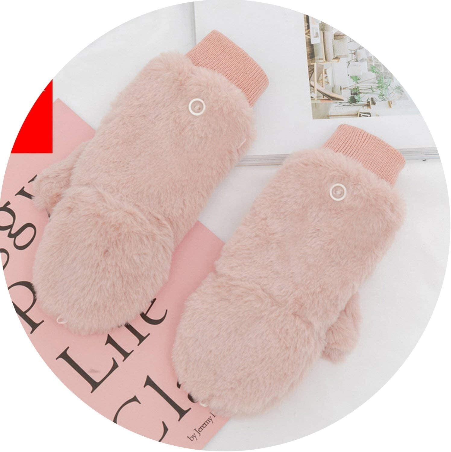 Samantha Warm Gloves Female Winter Plus Cashmere Plush Thick Warm Half Finger Touch Screen Flip Mittens Women Double Thick Knit Wool Gloves (Color : Pink, Size : Oneszie)