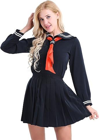 CHICTRY Disfraz de Marinera Sexy Mujer Cosplay Disfraz Colegiala Estudiante Escolar Uniforme Conjunto Falda Corta y Camisa Conjunto