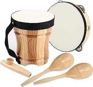 ML.ENJOY اسباب بازی چوبی برای کودکان نوپا و کودکان با بسته مکعب ، Kazoo ، Tambourine ، Kid's Bongo Drum و 2 Maracas ، سازهای سازهای چوبی سازهای چوبی سازگار با محیط زیست