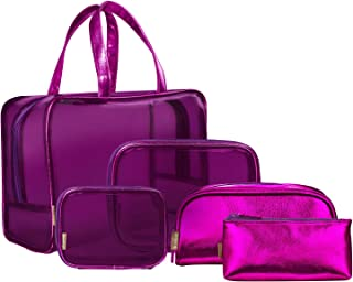 NiceEbag 5 in 1 Clear Cosmetic Bags Makeup Bags Carry on Transparent Storage Case Leather Travel Toiletry Bag PVC Make-up Packing Quart Luggage Pouch Make Up Handbag Organizer for Women/Girls,Purple